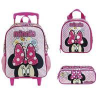 Mochila Escolar de Rodinhas com Lancheira e Estojo Minnie Mouse Arco Mágico Xeryus Tam G