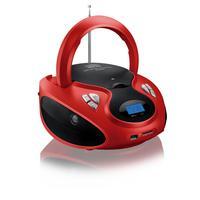Rádio Portátil Multilaser - CD, SD, USB, Aux. e FM 20W RMS Vermelho/Preto - SP180