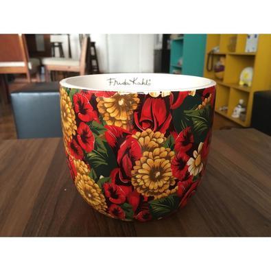 Cachepot cerâmica flores Frida Kahlo