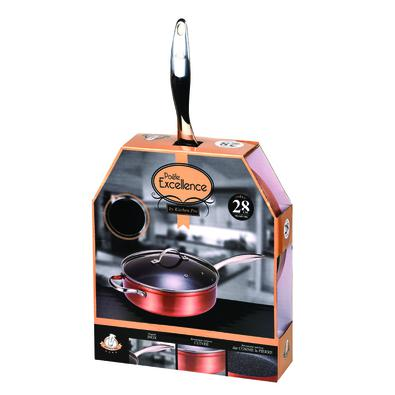 Frigideira Wok Antiaderente 28 cm Excellence Kitchen Pro com Tampa Cobre
