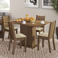 Conjunto Sala de Jantar, Madesa, Lexy, Mesa Tampo de Madeira com 4 Cadeiras