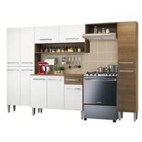 Cozinha Completa Madesa Emilly Hit com Armário e Balcão Rustic/Branco Cor:Rustic/Branco