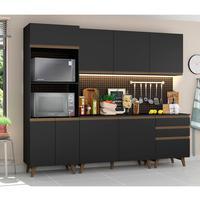 Cozinha Completa Madesa Reims com Balcão 8 Portas 3 Gavetas Preto Cor:Preto