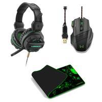Kit Mouse Gamer 3200DPI, Headset P2, USB, Mouse Pad para Teclado e Mouse