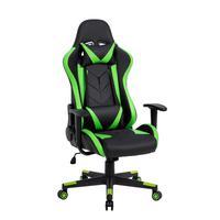 Cadeira Gamer Pelegrin em Couro Pu, Reclinável, Suporta até 150Kg, Preta e Verde - Pel-3019