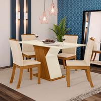 Conjunto Sala de Jantar Kesha com 4 Cadeiras e Mesa com Tampo MDF
