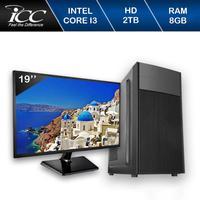 Computador Desktop ICC IV2383SWM19 Intel Core I3 3.2 Gghz 8GB HD 2TB  HDMI FULL HD Monitor LED 19,5 Windows 10