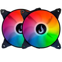 Kit com 2 Cooler Fan Rise Mode Aqua com Led Rgb, 120mm - Rm-mb-03-12v