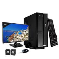 Mini Computador ICC I3 8GB HD 240GB SSD DVDRW Kit Multimídia Monitor 15