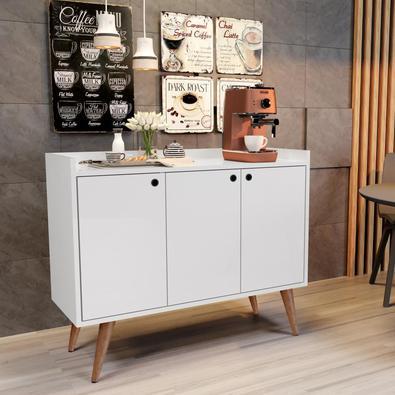 Aparador Buffet Retrô 3 Portas Wood Rpm Móveis, Branco