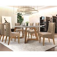 Conjunto Sala de Jantar com Mesa Safira 180cm e 6 Cadeiras Rufato