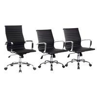 Conjunto com 1 Cadeira Presidente Giratória e 2 Cadeiras Diretor Giratória com Regulagem de Altura à Gás, Esteirinha