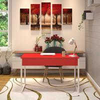 Mesa Em Metal Com Tampo De Aço Colorido   Tam: 80x60cm  cor: Vermelho E Branco