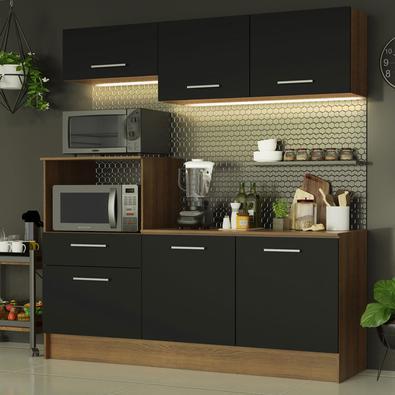 Cozinha Compacta Madesa Onix 180001 com Armário e Balcão Rustic/Preto Cor:Rustic/Preto