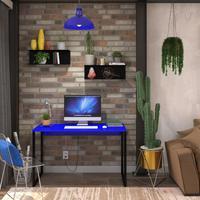 Mesa Em Metal Com Tampo De Aço Colorido   Tam: 120x60  cor: Azul E Preto