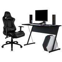 Kit Mesa Para Pc Gamer Kombat Com Cadeira Gamer Tgc12 H01 Thunderx3 Preto - Lyam Decor