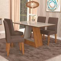 Conjunto De Mesa Para Sala De Jantar C/ Vidro Temperado E 4 Cadeiras Alana/milena - Cimol - Savana / Off White / Chocolate