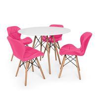 Kit Mesa Jantar Eiffel 100cm Branca + 04 Cadeiras Slim - Rosa