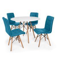 Kit Mesa Jantar Eiffel 100cm Branca + 04 Cadeiras Gomos - Turquesa