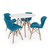 Kit Mesa Jantar Eiffel 120cm Branca + 04 Cadeiras Slim - Turquesa