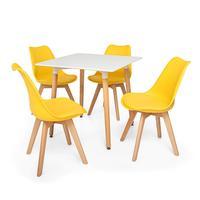 Kit Mesa Jantar Eiffel 80x80 Branca + 04 Cadeiras Leda - Amarela