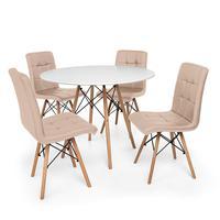 Kit Mesa Jantar Eiffel 80cm Branca + 04 Cadeiras Gomos - Nude