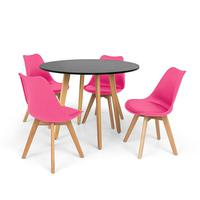 Conjunto Mesa De Jantar Laura 100cm Preta Com 4 Cadeiras Eames Wood Leda - Rosa