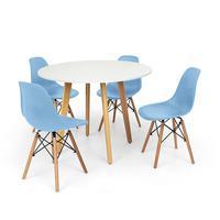 Conjunto Mesa De Jantar Laura 100cm Branca Com 4 Cadeiras Charles Eames - Azul Claro