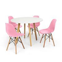 Conjunto Mesa De Jantar Laura 100cm Branca Com 4 Cadeiras Charles Eames - Rosa
