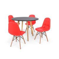 Conjunto Mesa De Jantar Laura 100cm Preta Com 4 Cadeiras Charles Eames Botonê - Vermelha