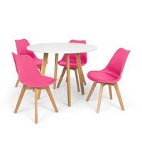 Conjunto Mesa De Jantar Laura 100cm Branca Com 4 Cadeiras Eames Wood Leda - Rosa