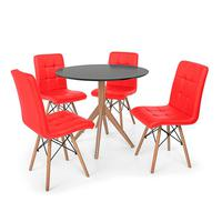 Conjunto Mesa De Jantar Maitê 80cm Preta Com 4 Cadeiras Eiffel Gomos - Vermelha