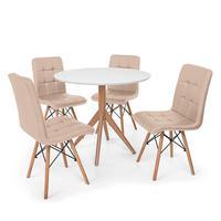 Conjunto Mesa De Jantar Maitê 80cm Branca Com 4 Cadeiras Eiffel Gomos - Nude
