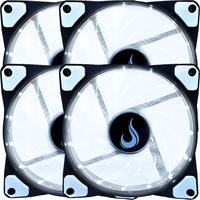 Kit com 4 Cooler - Fan Rise Mode,  120mm, Led Branco - Rm-wn-01-bw