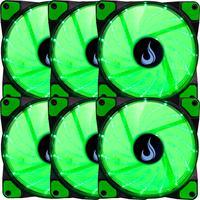 Kit com 6 Cooler - Fan Rise Mode, 120mm, Led Verde - Rm-wn-01-bg