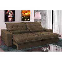 Sofa Retrátil E Reclinável 2,92m Com Molas Ensacadas Cama Inbox Soft Tecido Suede Café