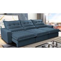 Sofá Retrátil E Reclinável 4,12m Com Molas Ensacadas Cama Inbox Soft Tecido Suede Velusoft Azul