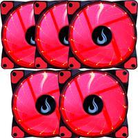 Kit Com 5 Cooler - Fan Rise Mode, 120mm, Led Vermelho Rm-wn-01-br