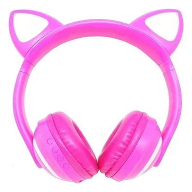 Fone de Ouvido Bluetooth de Gatinho - Pink