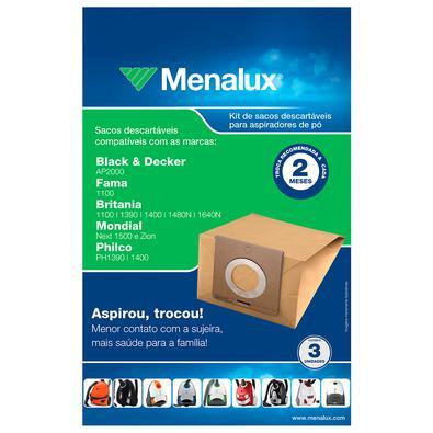 Kit com 3 Sacos Descartáveis Menalux para Aspirador de Pó (SIM01) ELECTROLUX