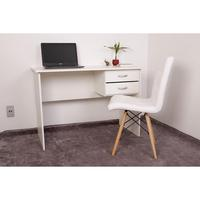 Kit Escrivaninha Com Gaveteiro Branca + 01 Cadeira Eiffel Gomos - Branca