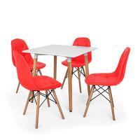 Kit Mesa Jantar Eiffel 80x80 Branca + 04 Cadeiras Charles Eames Botonê - Vermelha