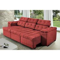Sofa Itália 2,25 Mts Retrátil E Reclinavel Tecido Suede Vermelho - Ws Estofados