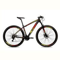 Bicicleta Alumínio Aro 29 Ksw Shimano Tz 24 Vel Ltx Krw20 - Preto/amarelo E Vermelho