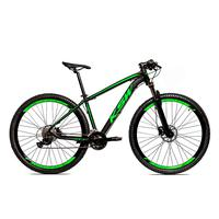 Bicicleta Alumínio Ksw Shimano Altus 24 Vel Freio Hidráulico E Suspensão Com Trava Krw18 - 17´´ - Preto/verde Fosco