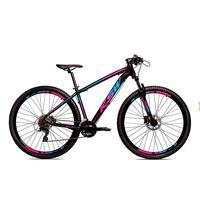 Bicicleta Alumínio Ksw Shimano Altus 24 Vel Freio Hidráulico E Cassete Krw19 - 21´´ - Preto/azul E Rosa