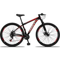 Bicicleta Aro 29 Dropp Aluminum 21v Suspensão, Freio A Disco - Preto/vermelho E Branco - 15
