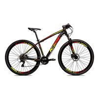 Bicicleta Alumínio Ksw Shimano Altus 24 Vel Freio Hidráulico E Suspensão Com Trava Krw18 - 17´´ - Preto/amarelo E Vermelho