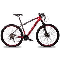 Bicicleta Aro 29 Dropp Z7x 27v Susp C/trava Freio Hidraulico - Cinza/vermelho E Preto - 17''