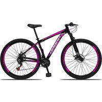 Bicicleta Aro 29 Dropp Aluminum 21v Suspensão, Freio A Disco - Preto/rosa E Branco - 21